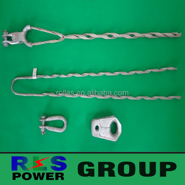 High quality galvanized steel preformed tension clamp link the fiber cable