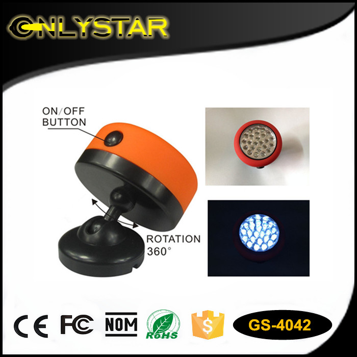 Onlystar GS-4042 hot sales mini protable flat magnetic and rotation 360 degree camping light 24 led work flashlight