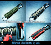 550 Colored Paracord Carabiner Key Chain