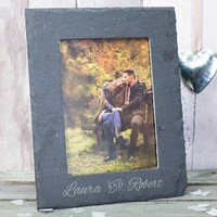 "Factory Direct Price 26*21cm Handmade Decorative Slate Wholesale Picture Frames Bulk(Holds a 5 x 7"" photograph)"