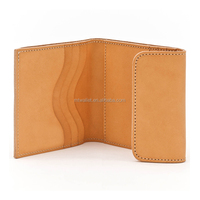 Vegetable cow hide leather Flap Billfold Wallet