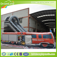Fire Engine Inflatable slide, inflatable fire truck slide, Feuerwehr inflatable slide with obstacle