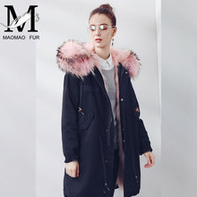 Custom Soft Cheap European Style Real Fox Fur Lining Women Hooded Coat