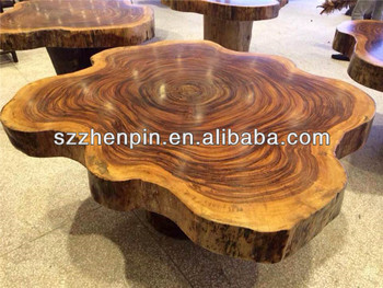 Acacia mangium End Grain tiger color Big size solid slab wood Dining Table