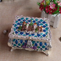 Factory Direct Sale hinged trinket box, Zinc alloy folding box jewelry