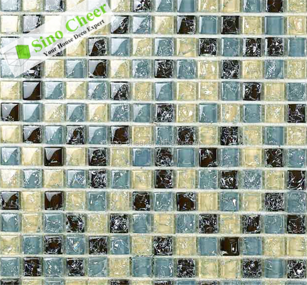 Indoor broken glass mosaic tile , square crystal glass mosaic for wall