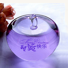Color christmas decorations crystal glass apple gift