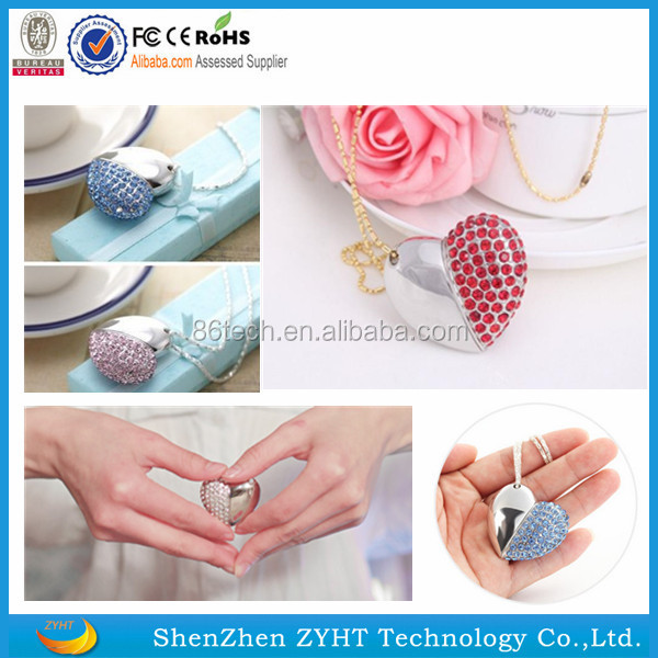 2017 hot selling high quality fashion jewelry heart USB memory stick/Crystal wholesale USB Flash Drive