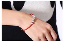 zly135 Fashion Women's Lucky Ball Bead Red Rope Line Bracelet Silver Bead Hand-woven Charm Bracelet For Unisex