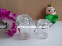 70ml airtight mini cylinder glass spice jar with metal clip top
