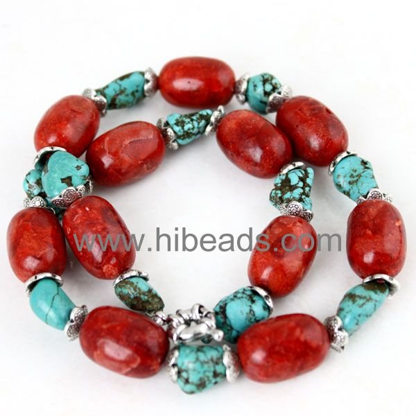 drum 14mm red charms coral blue turquoise necklace wholesale Coral-jewelry-0066-030