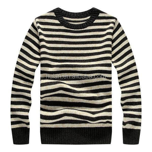 hot sale spring roll neck long sleeve casual black and white stripe man knitted thick pullover sweater
