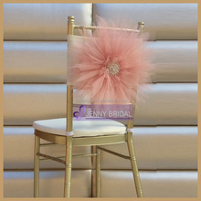JENNY BRIDAL wedding artificial tulle flower chair covers sash wedding decoration