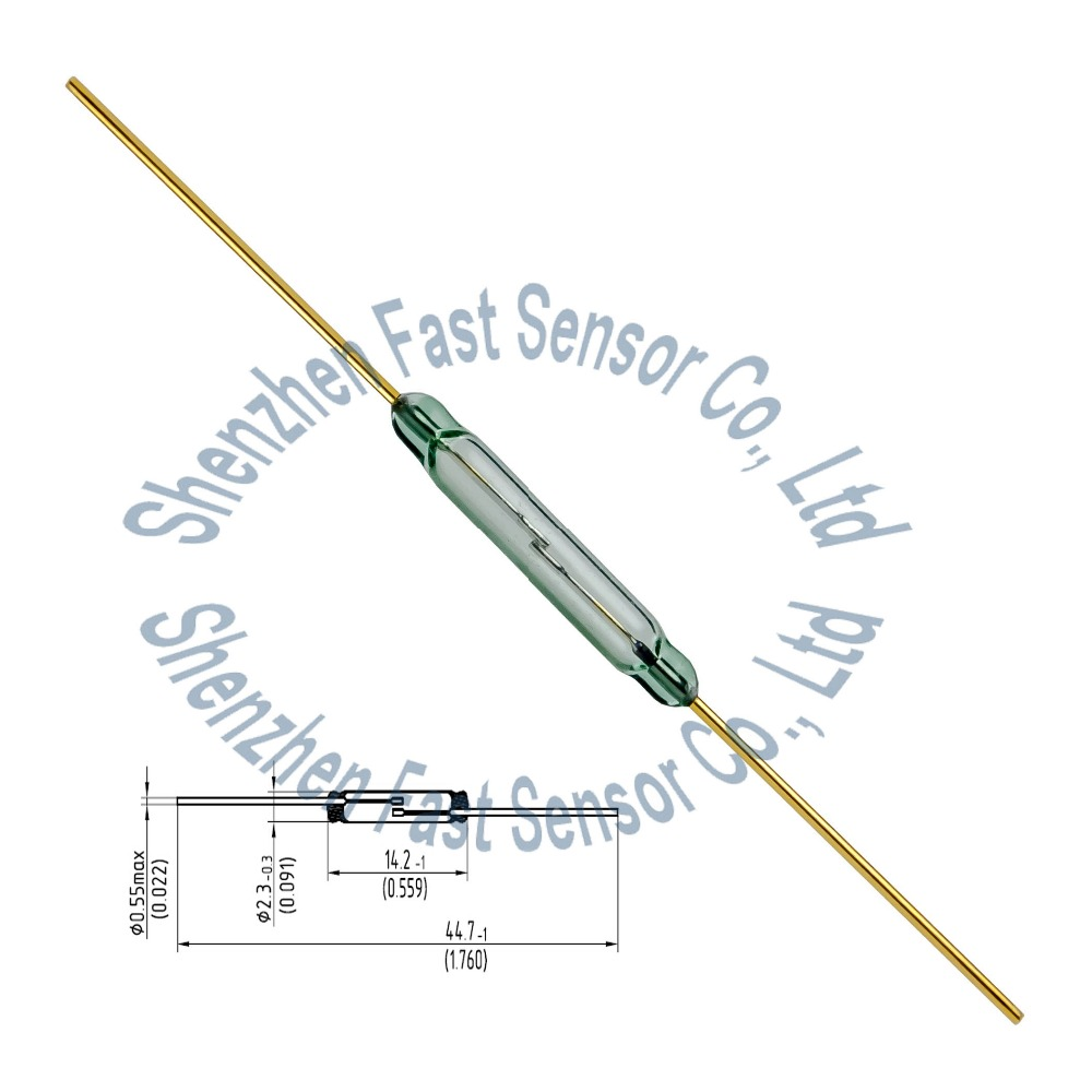 <strong>2</strong>.2x14mm cheap normal open N/<strong>O</strong> SPST <strong>2</strong> leads 10W 12V MKA14103 Magnetic Actuated Gold Contact Green Glass Dry Reed Switch Supplier