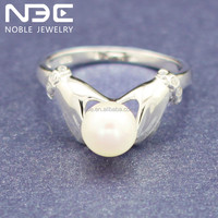 925 sterling silver jewelry natural pearl rings wholesale