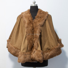 Showmefur High Quality Cold Winter Ladies Free Size Cashmere Capes with Straight Fox Fur Trim