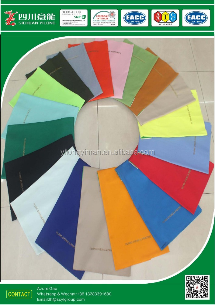 Polyester/Cotton blended T65/C35 190gsm ribstop fabric solid dyed with Antibacterial