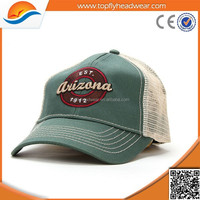 Promotional Green and White Trucker Mesh Cap / Fashion Foam Truck Mesh Hat