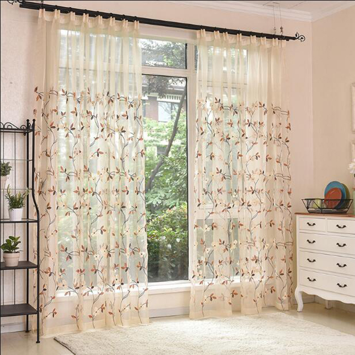 Home decor top quality luxury design print style fabric semi-transparent shower curtains sheer for the living room