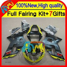 Body Yellow grey For SUZUKI K1 GSX-R750 GSXR 750 01 02 03 8CL1112 GSX R750 2001 2002 2003 GSXR750 GSXR-750 Fairing Yellow blk K
