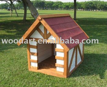A shape Wooden Dog Kennel, fancy Solid Wood pet house for indoor and outdoor