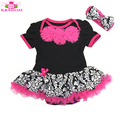 Spring Tutu Princess Short Sleeve Cotton Romper Infant Toddler Dress Romper with Hairband