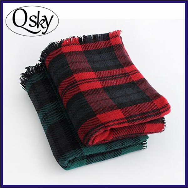 black red wholesale women checked blanket scarf plaid lady