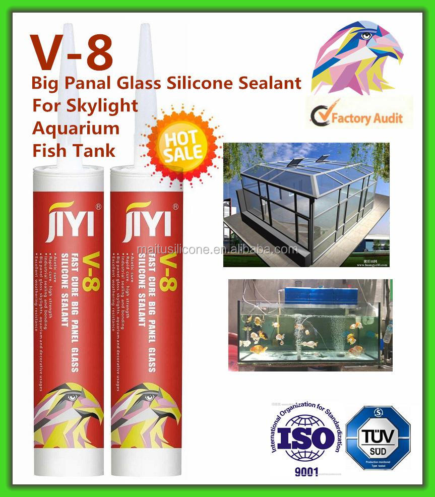 Adhesive for glass to metal silicone acid sealant