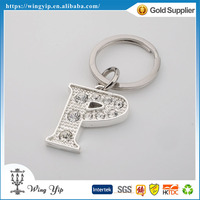 Manufacturer fancy Letter P Shinning Silver Custom Key Ring