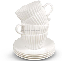 BAKE & SERVE SET 4 TEACUP SILICONE CUPCAKE MUFFIN CUP MOLD 4 PLASTIC SAUCER