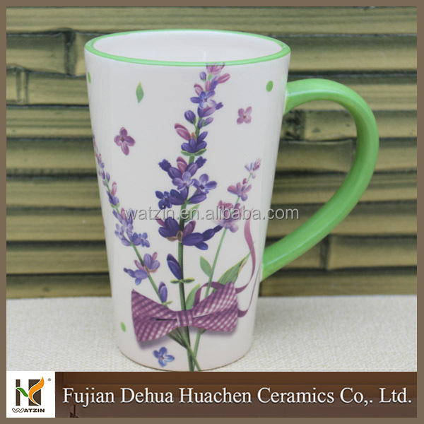 flower design beautiful 16 oz ceramic travel mug
