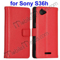Flip Case for Xperia L, Wholesale Factory Price Wallet Stand Leather Pouch Case Cover for Sony S36H with Card Slots