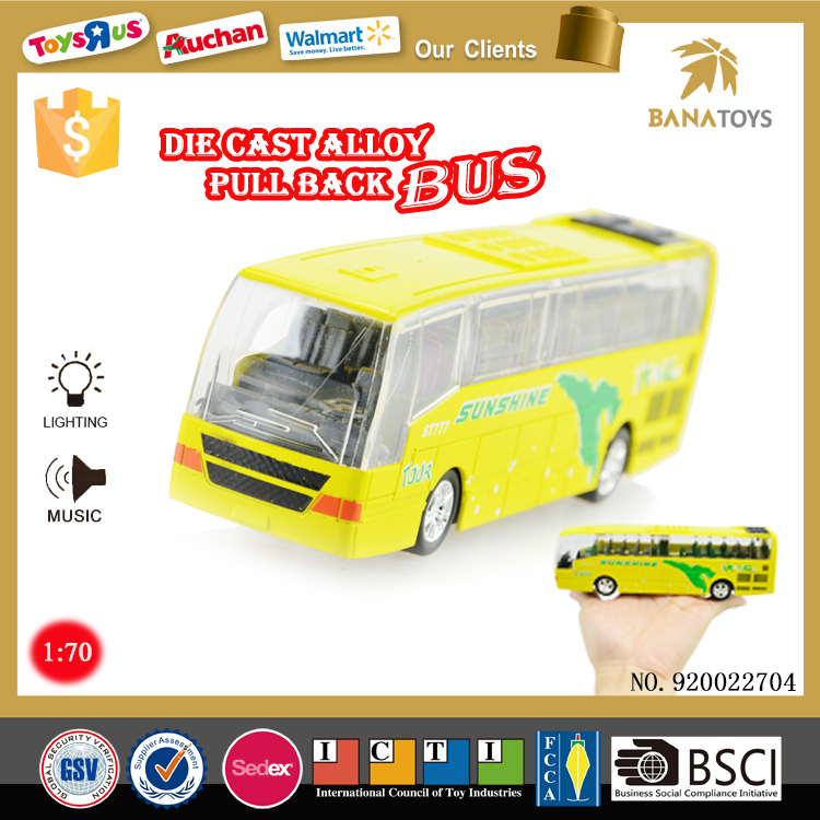 Pull back toy mini diecast bus model
