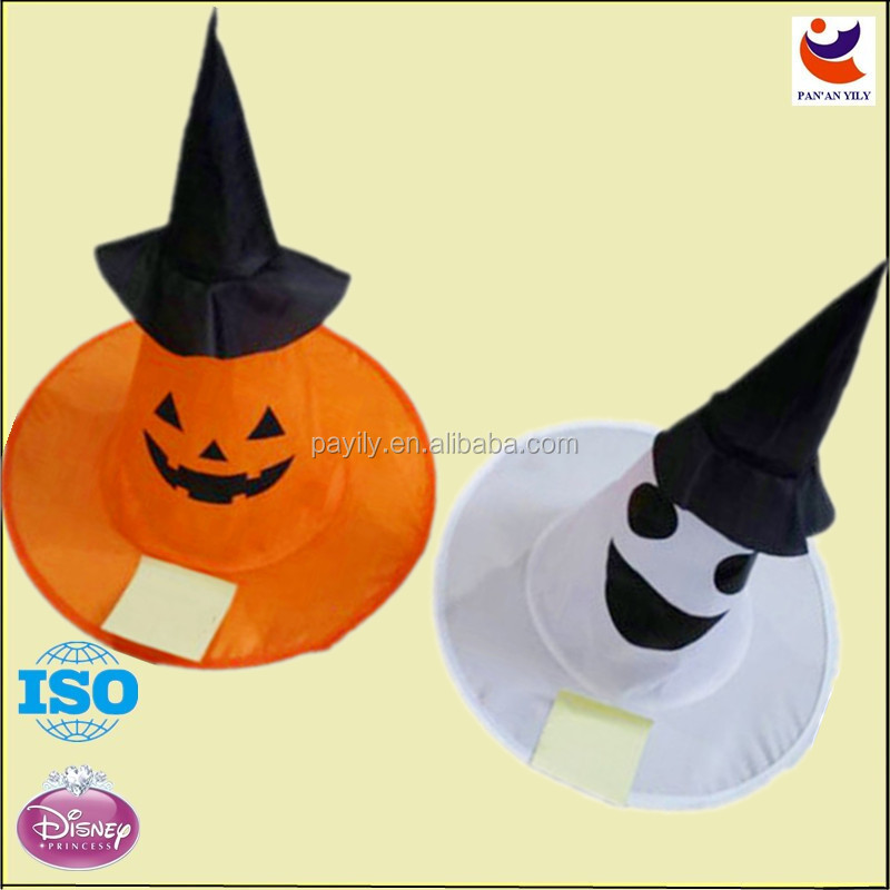 orange and white color Pumpkin and ghost Pattern Witch Hats Fancy Dress Halloween