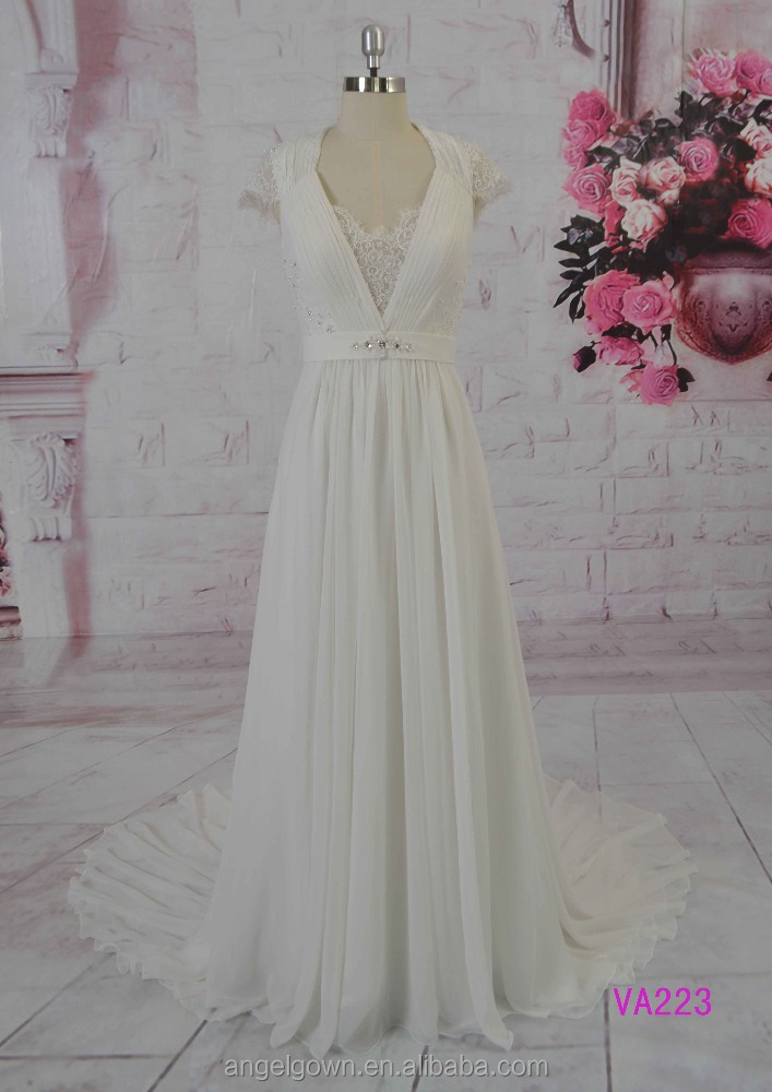 2016 guangzhou elegant cap sleeves beaded cord lace chiffon A-line wedding dresses/bridal gowns
