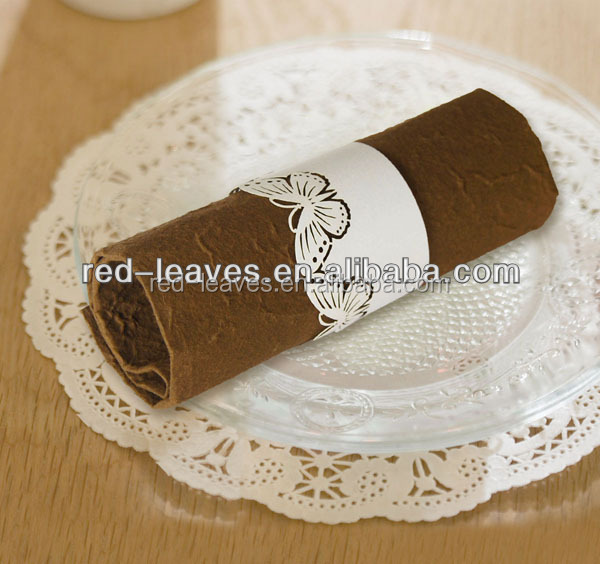 Paper craft fancy paper napkins butterfly design fabric napkin ring for wedidng table decorating