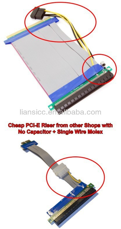 30cm PCIE 16x cable riser cable with molex packed by anti static bag