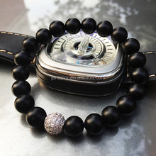 Instagram Hot Design Special Custom Matt Black Onyx Stone with Cubic Zircon Bead Ball Bracelet