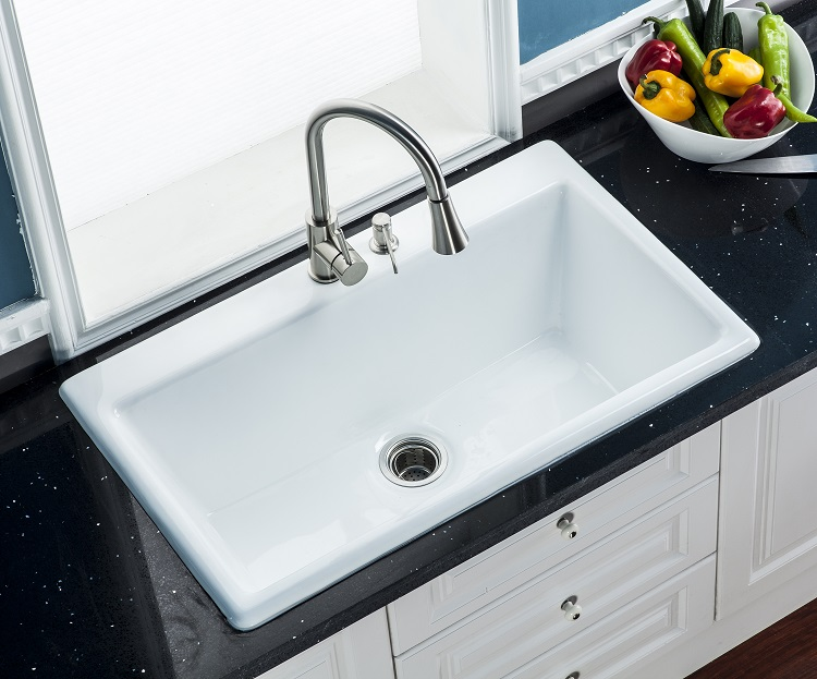 33inch  single bowl  cast iron  sink for Kitchen self riming install