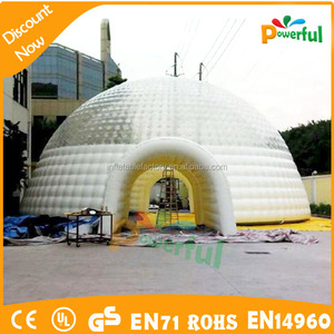 Half transparent top cover inflatable camping bubble tent