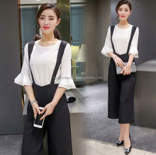 monroo latest tshirt suit 2pcs fashion women blouse design and palazzo pants