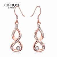 Twisted Infinity Shape Symbol Gold Plate Dangle Hoop Earring