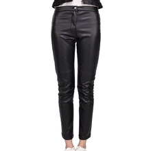 Lady fashion sexy winter thermal slim tight black pu leather pants for sale