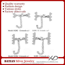 XD S1282-83-84-85 925 sterling silver lobster clasp 11mm with multi strands cz endings and extension tag