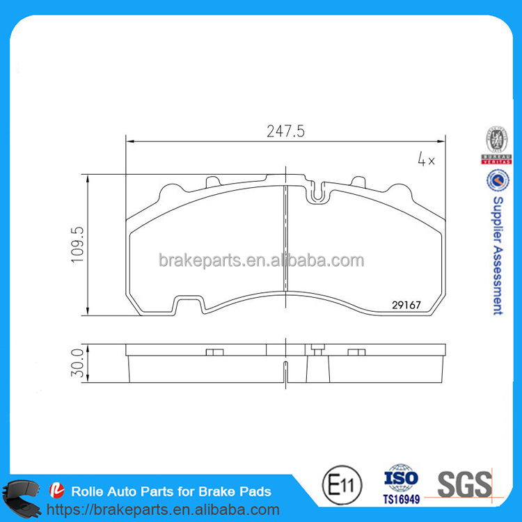 WVA29171 High Quality Heavy Duty Truck Brake Pads Semi Truck Brake Parts for Brake System