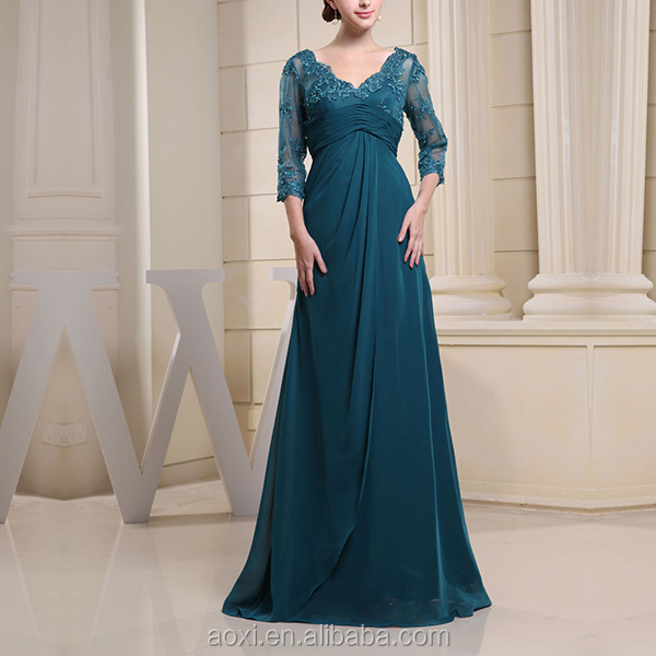 China Wholasale Alababa cheap Turkish green wedding gown beaded empire lace V-back mother of the bride dress with sleeves