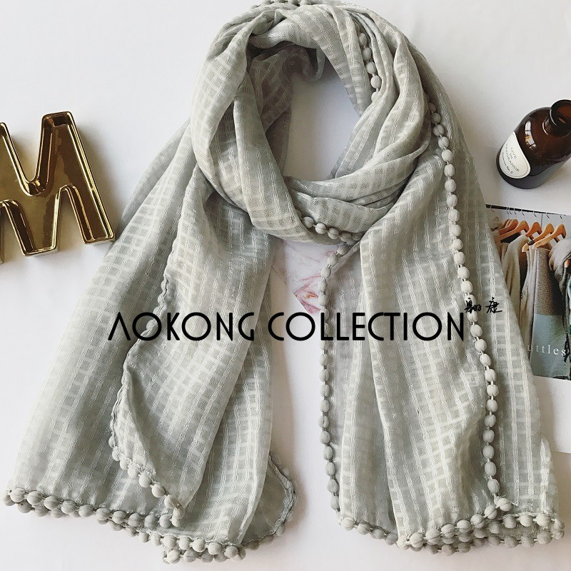 New women premuim cotton grid solid plain pom pom scarf