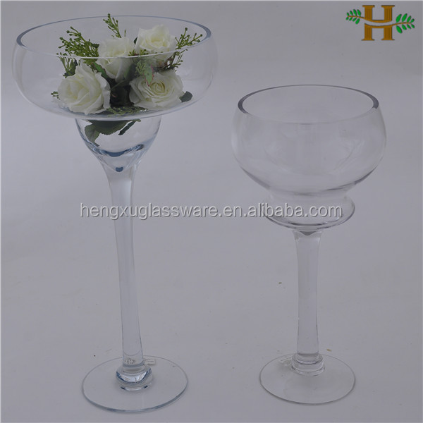 tall long-stemmed wedding glass candle holders