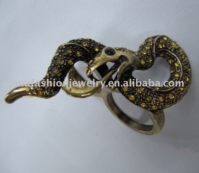 Scary Antique Gold Poison Animal Snake Ring