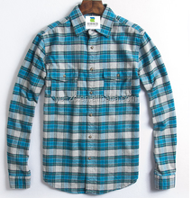 Wholesale plaid flannel shirt cotton check shirt fabric mens button up shirts